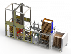 DP240 - Fully automatic palletizer with integrated tray warehouse