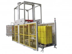 DP300 Fully automatic palletizer stackable containers