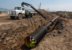 HDPE pipe installation in storm drain project in Mexico